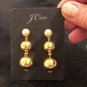 J Crew pierced faux pearl & gold tone ball earring